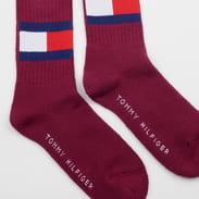 Tommy Hilfiger TH Jeans Flag Socks fialové