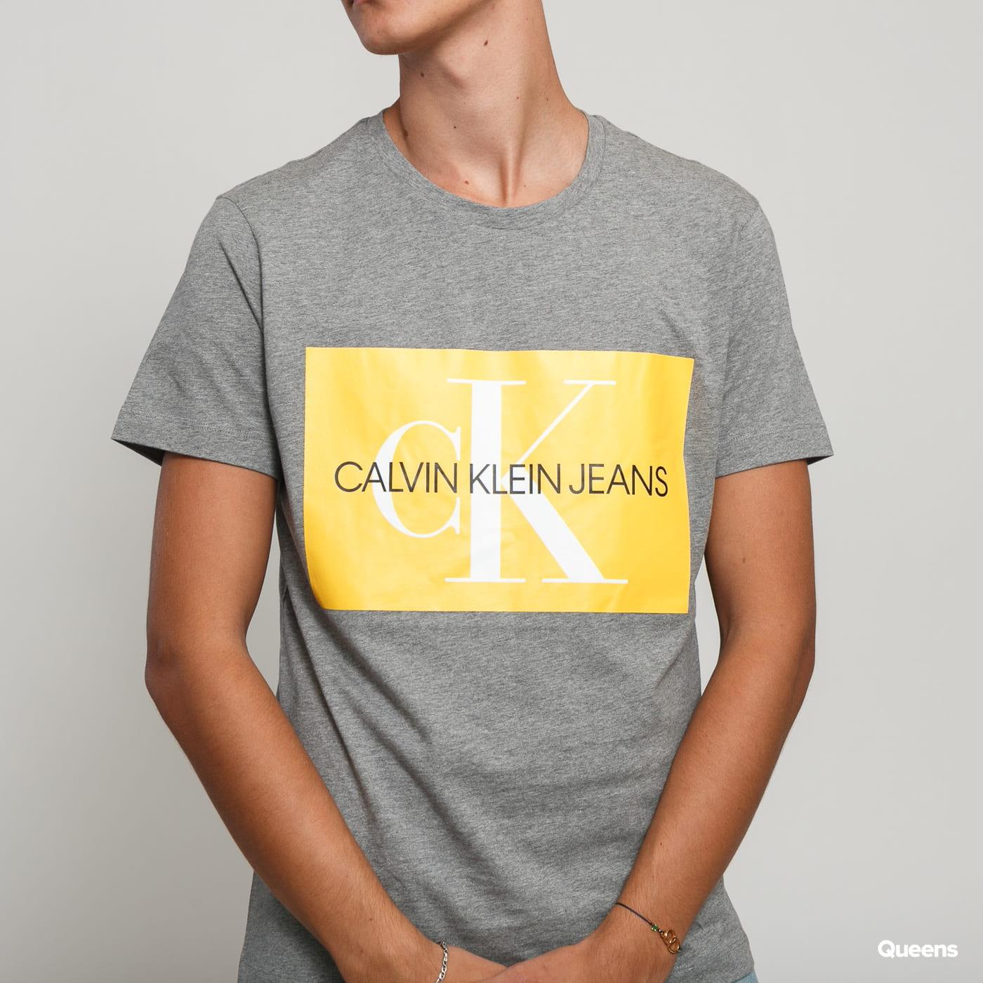 CALVIN KLEIN JEANS Monogram Box Logo Slim Tee melange šedé