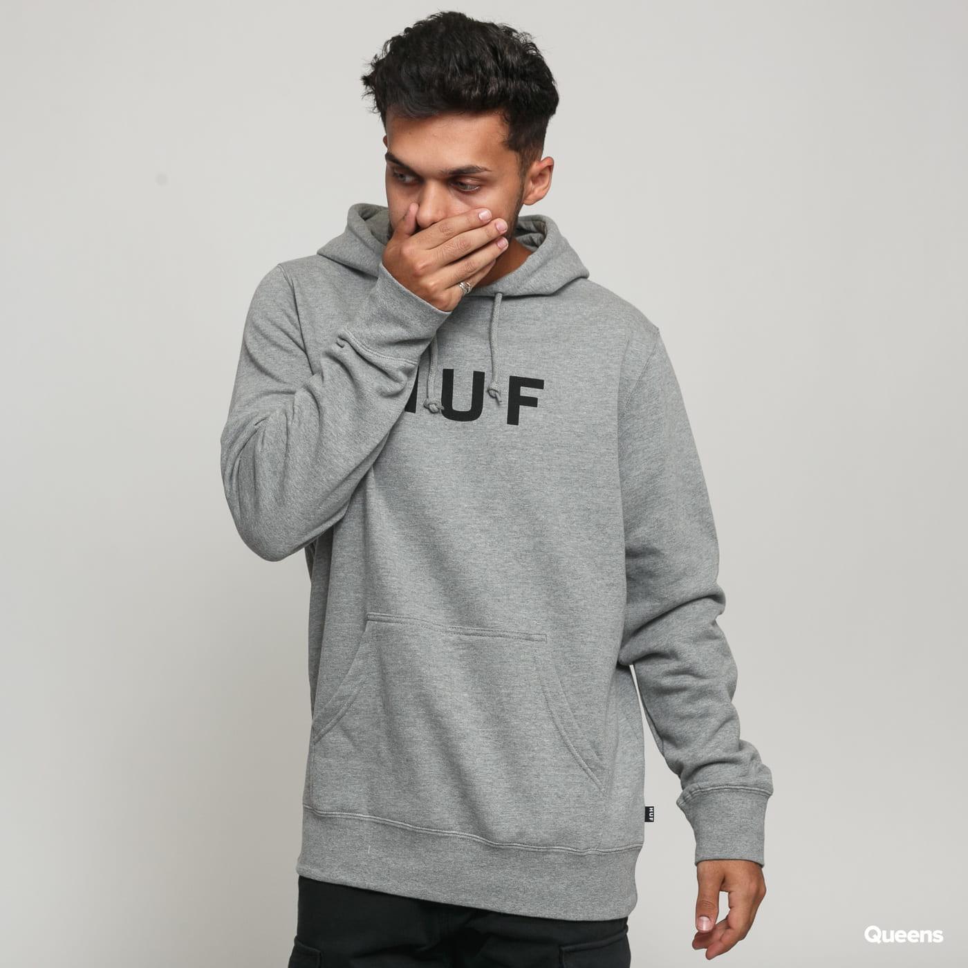 HUF Essentials OG Logo PO Hoodie melange gray