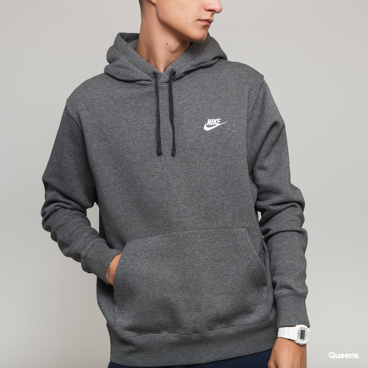 Nike M NSW Club Hoodie PO BB melange tmavošedá
