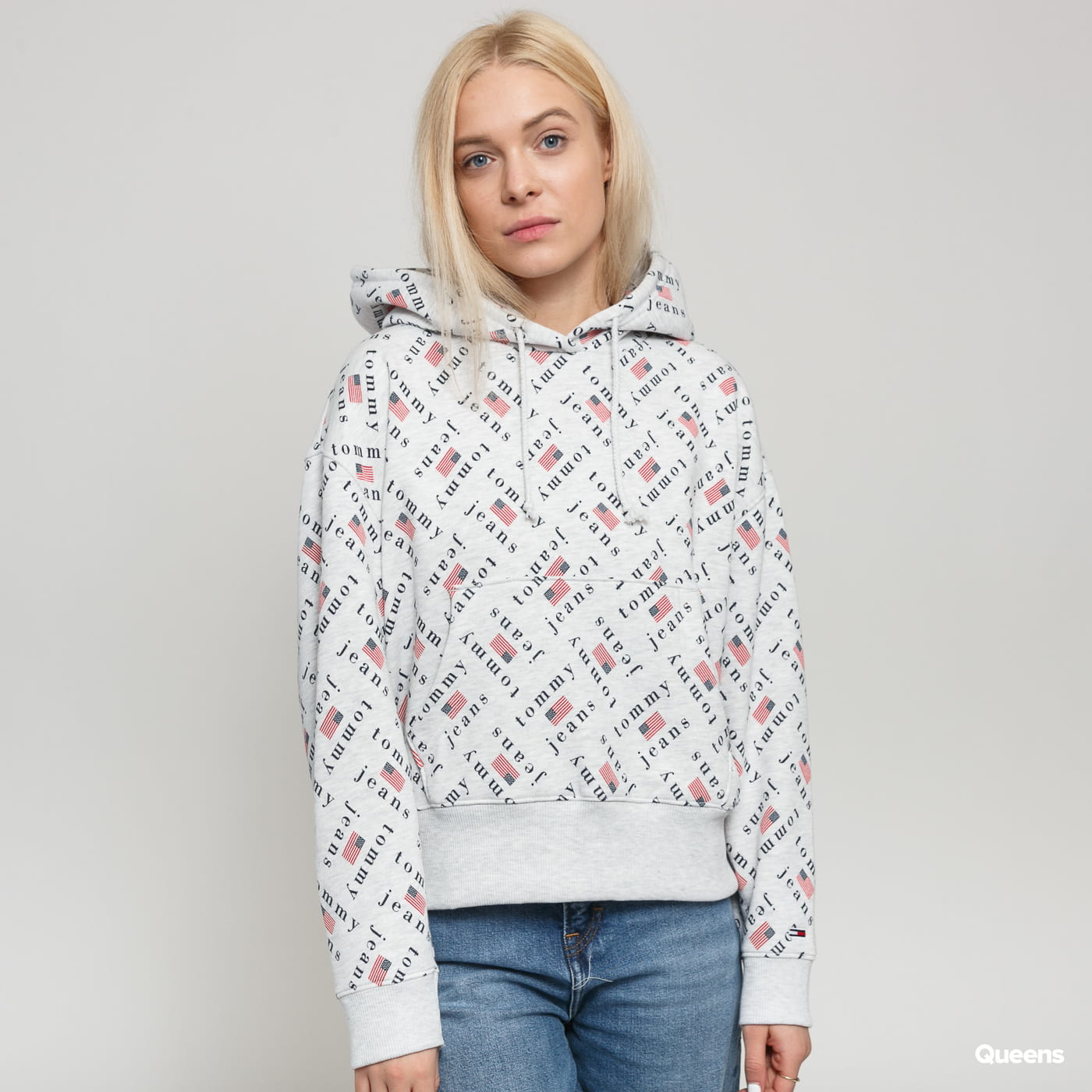 TOMMY JEANS W Tommy Allover Hoodie melange gray / black / red