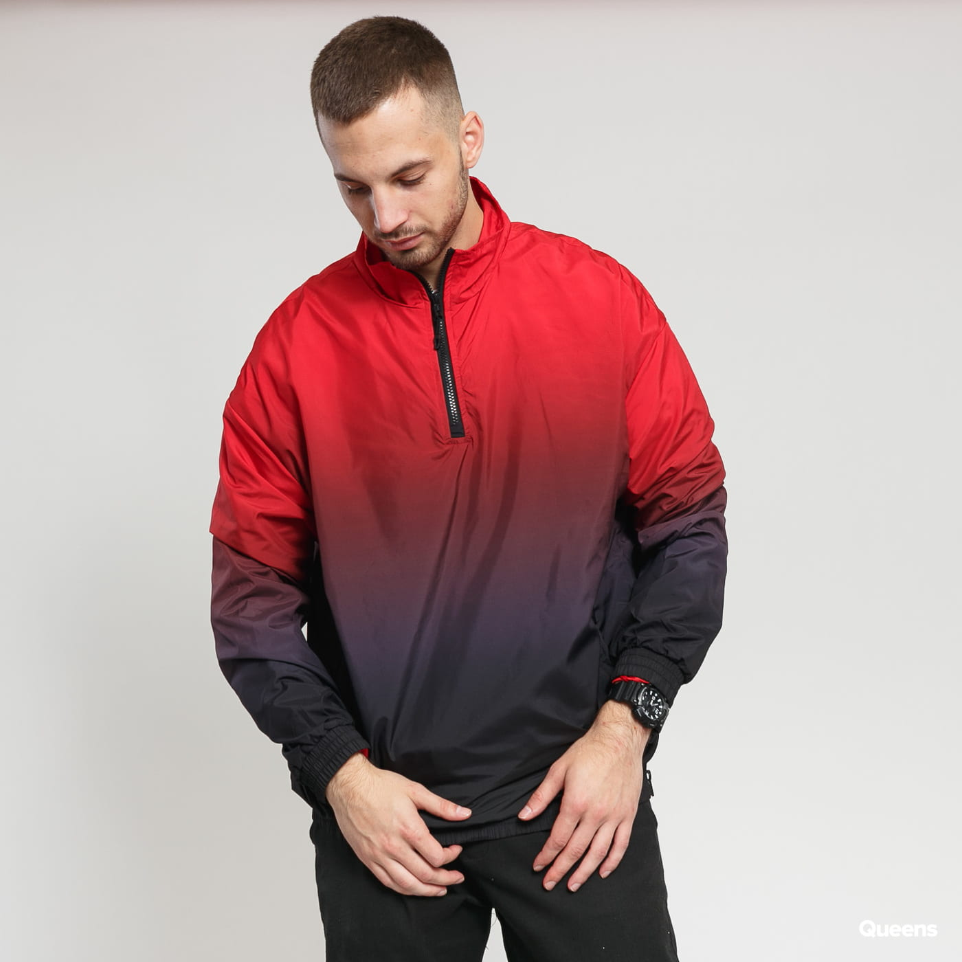 Urban Classics Gradient Pull Over Jacket bordeaux / red