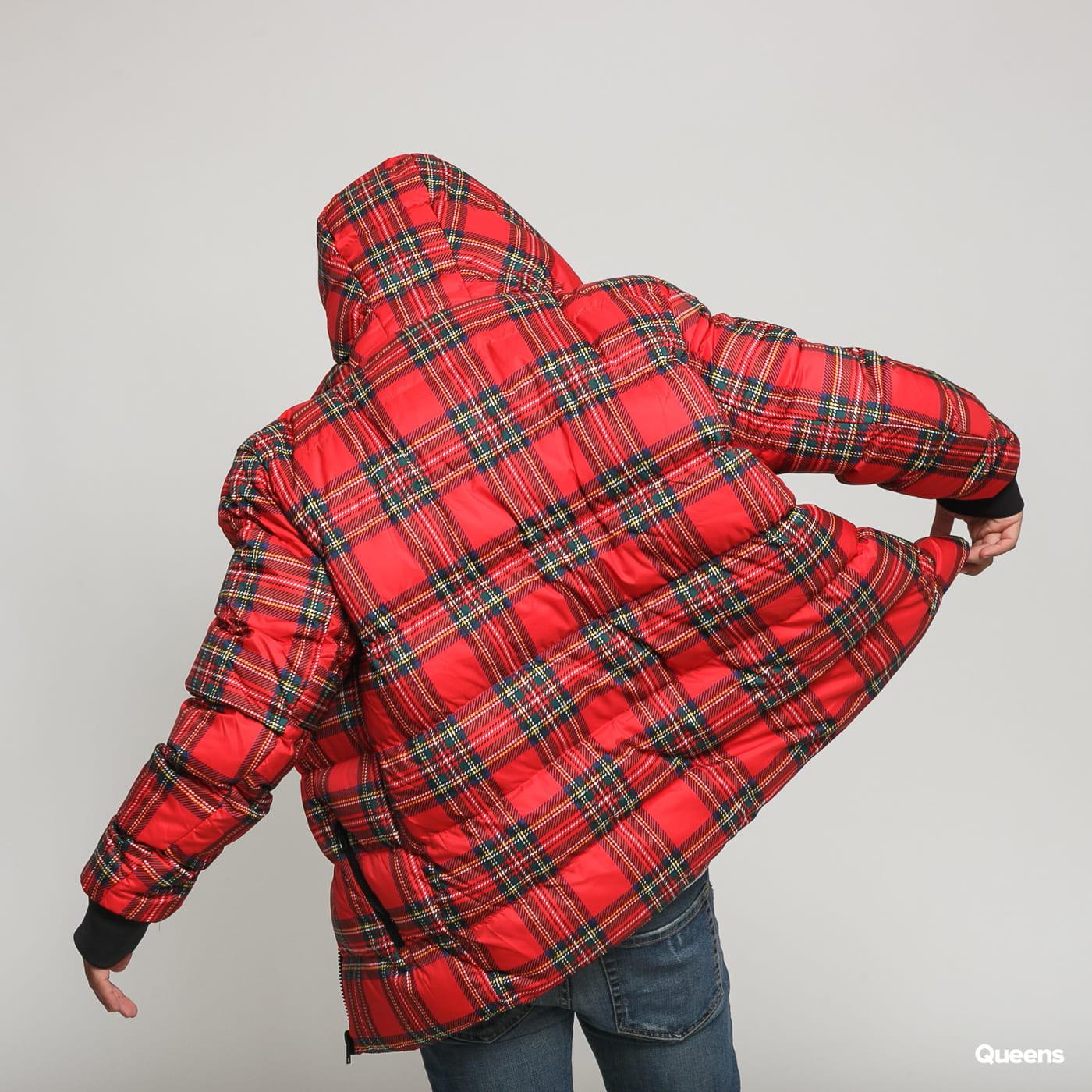 Urban Classics Hooded Check Puffer Jacket červená / multicolor