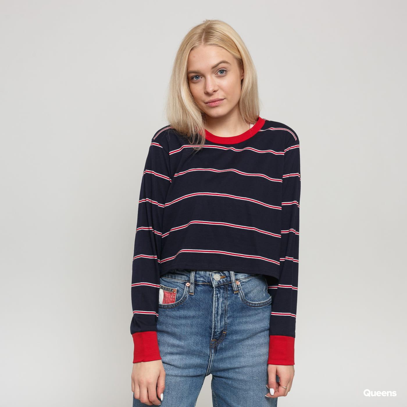Urban Classics Ladies Short Yarn Dyed Skate Stripe LS navy / red / white
