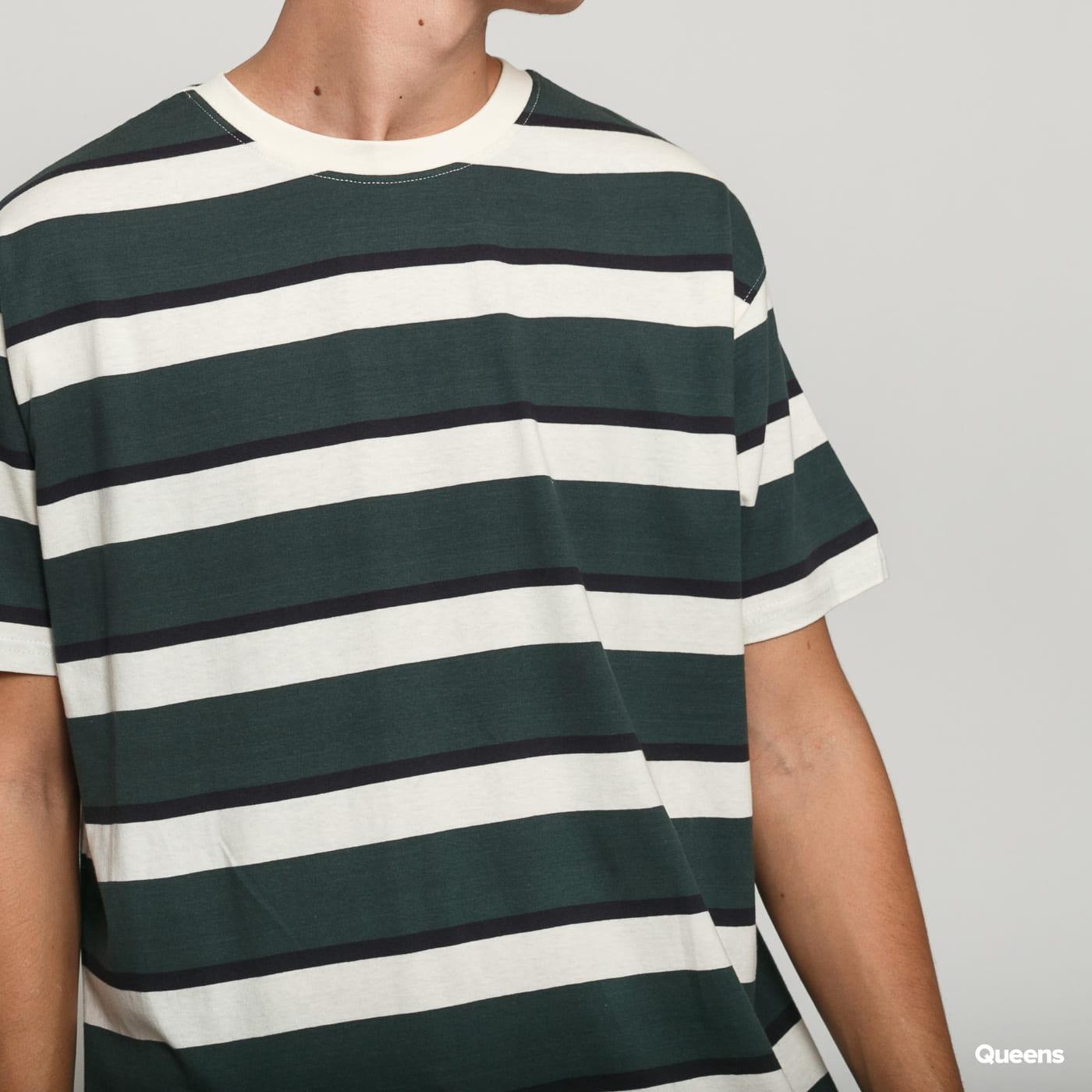 Urban Classics Oversized Block Stripe Tee tmavozelené / krémové / navy