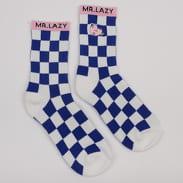 LAZY OAF Lazy Oaf X Mr. Men Mr. Lazy Check Socks bílé / modré / růžové