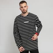 PLEASURES Vortex Striped Long Sleeve Tee černé / bílé