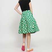 Stüssy Sabi Checker Pleated Skirt zelená / krémová
