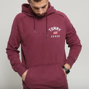 TOMMY JEANS M Washed Chest Graphic Hoodie fialová