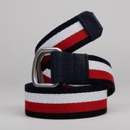 TOMMY JEANS Urban D-Ring Webbing Belt navy / bílý / červený