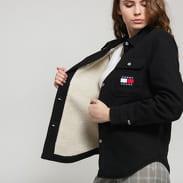TOMMY JEANS W Sherpa Lined Shirt Jacket černá