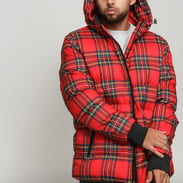 Urban Classics Hooded Check Puffer Jacket červená / multicolor