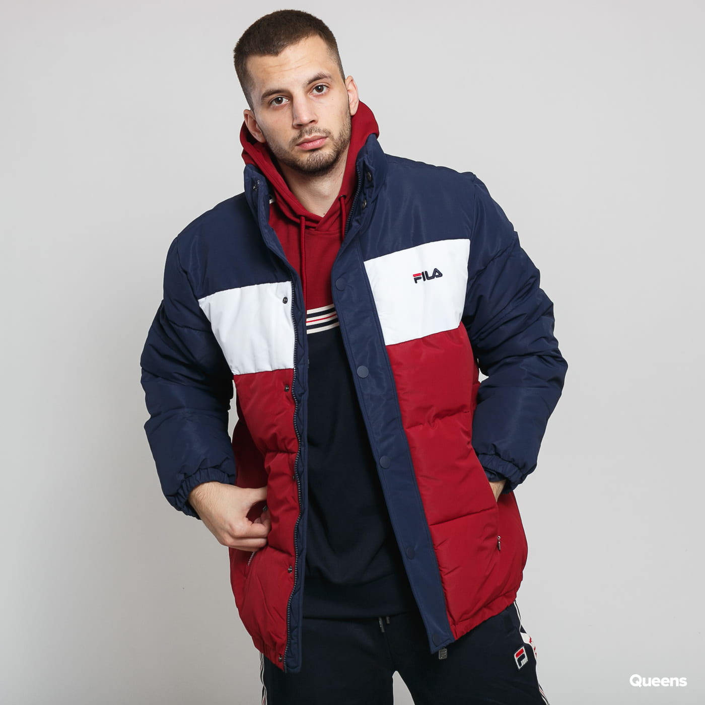 Fila Men Pelle Puff Jacket navy / weinrot / weiß