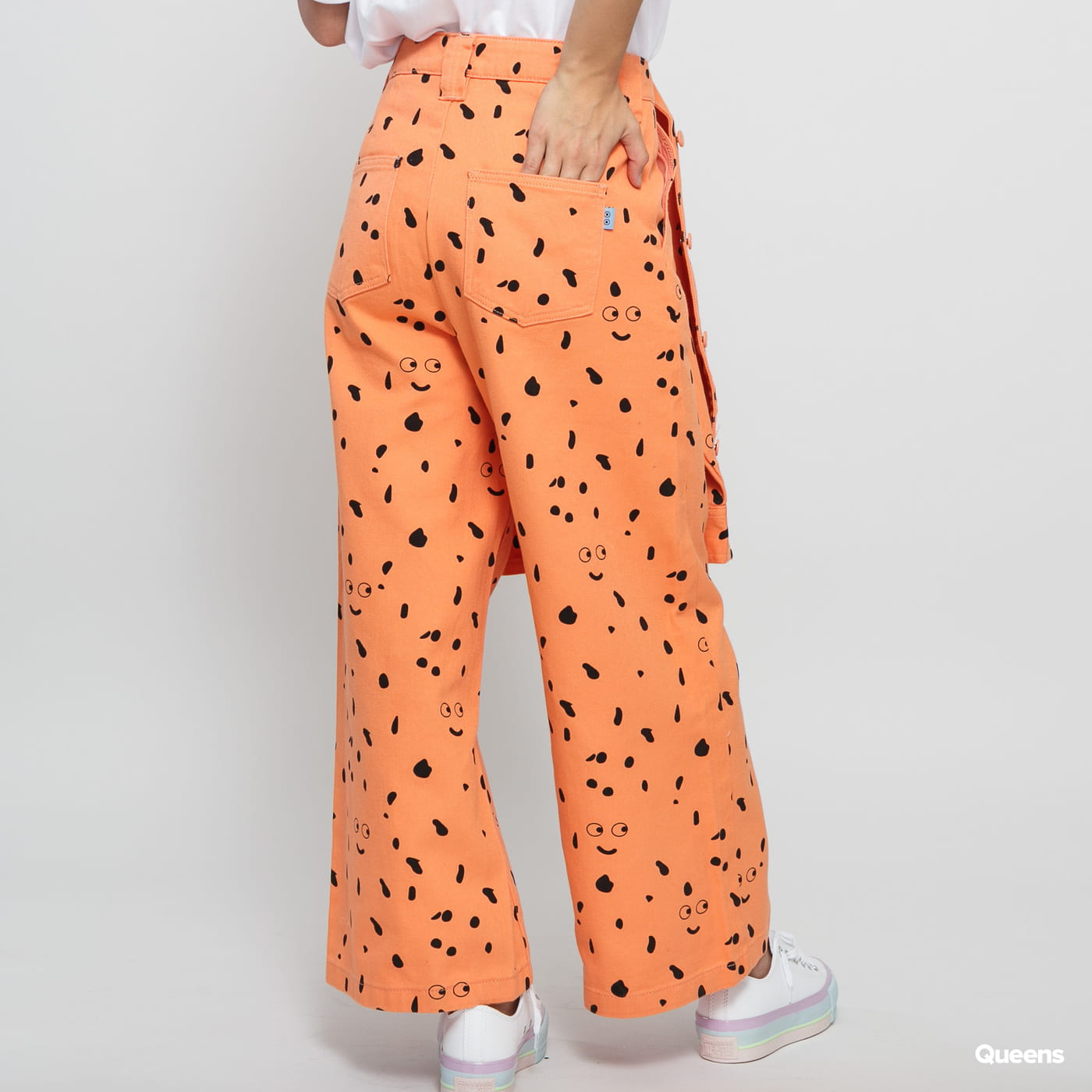 LAZY OAF LO X SA Glazed Over Work Pant oranžové / čierne