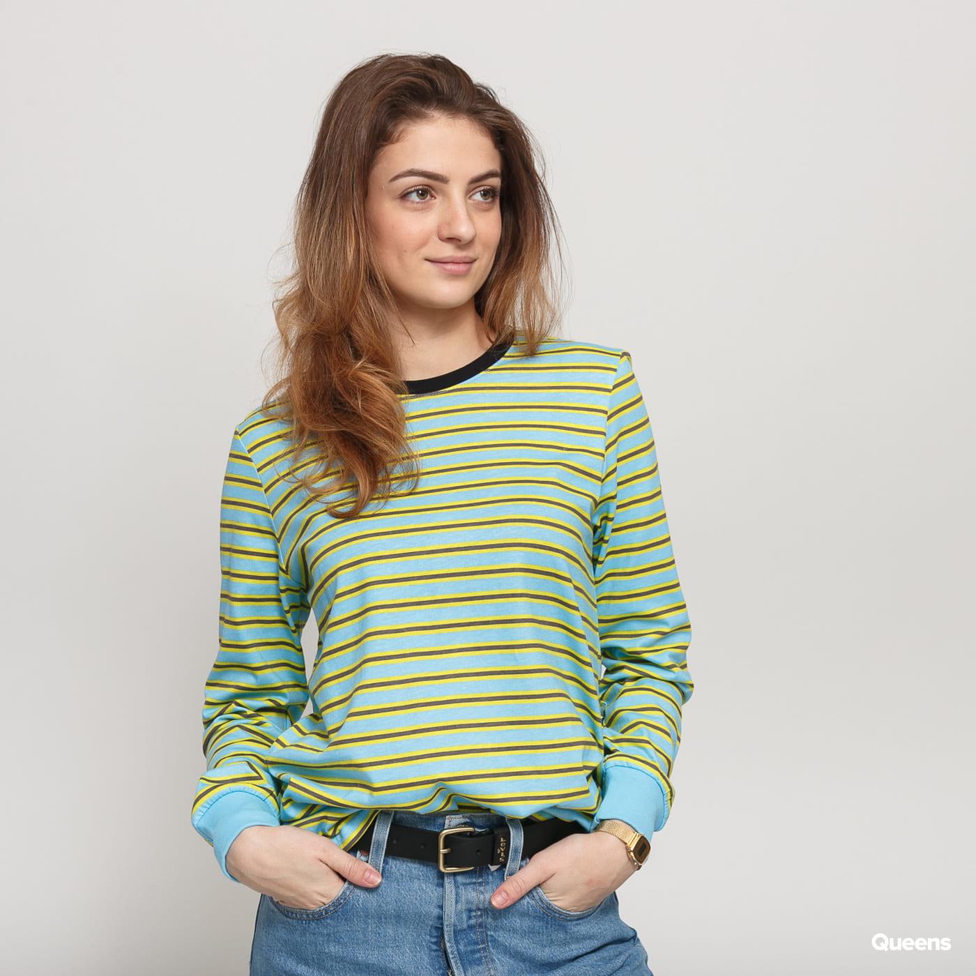 Stüssy Printed Stripe LS Tee light blue / yellow / dark gray