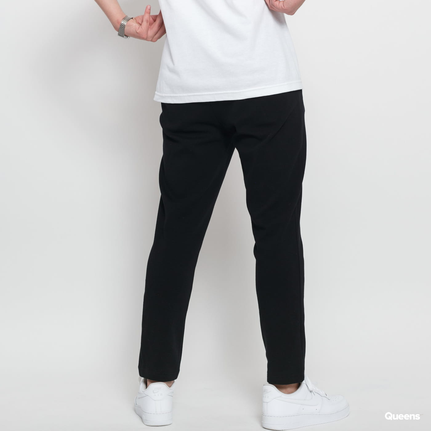 Urban Classics Formula Cropped Peached Interlock Pants čierne