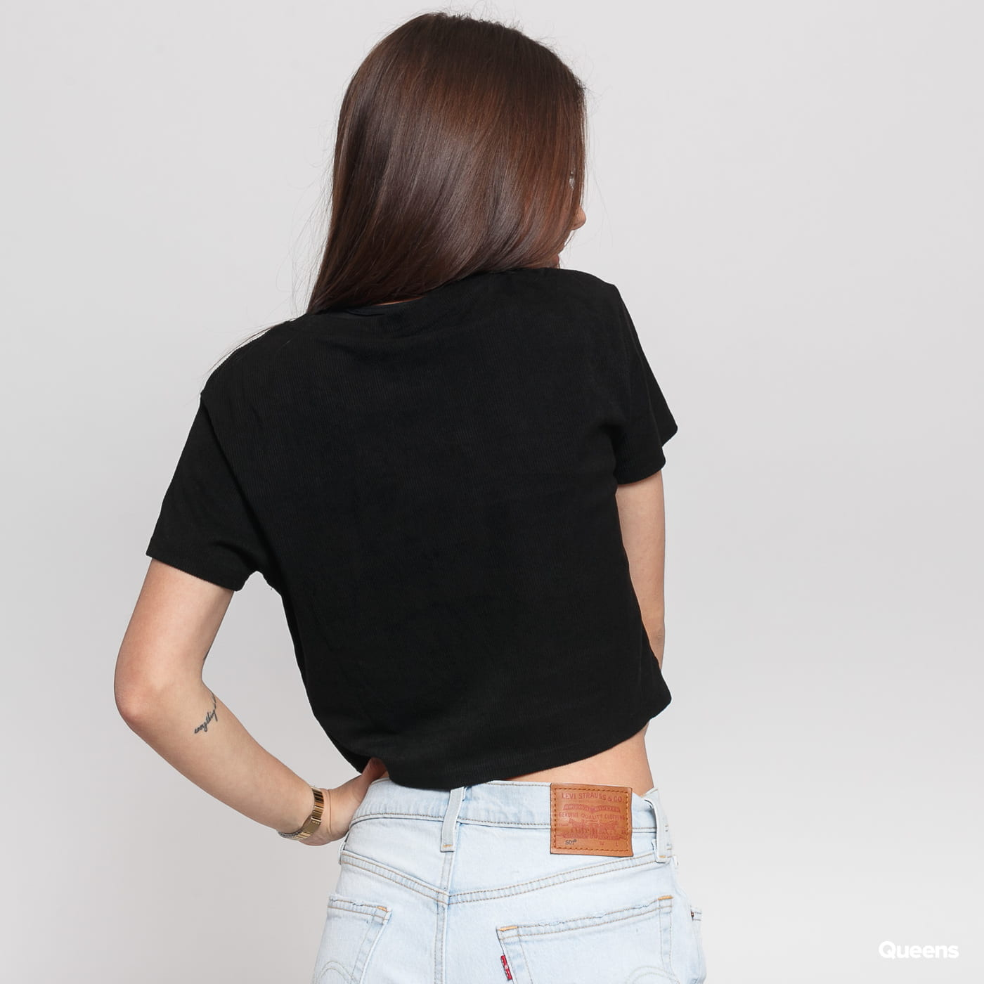 Urban Classics Ladies Cropped Peached Rib Tee čierne