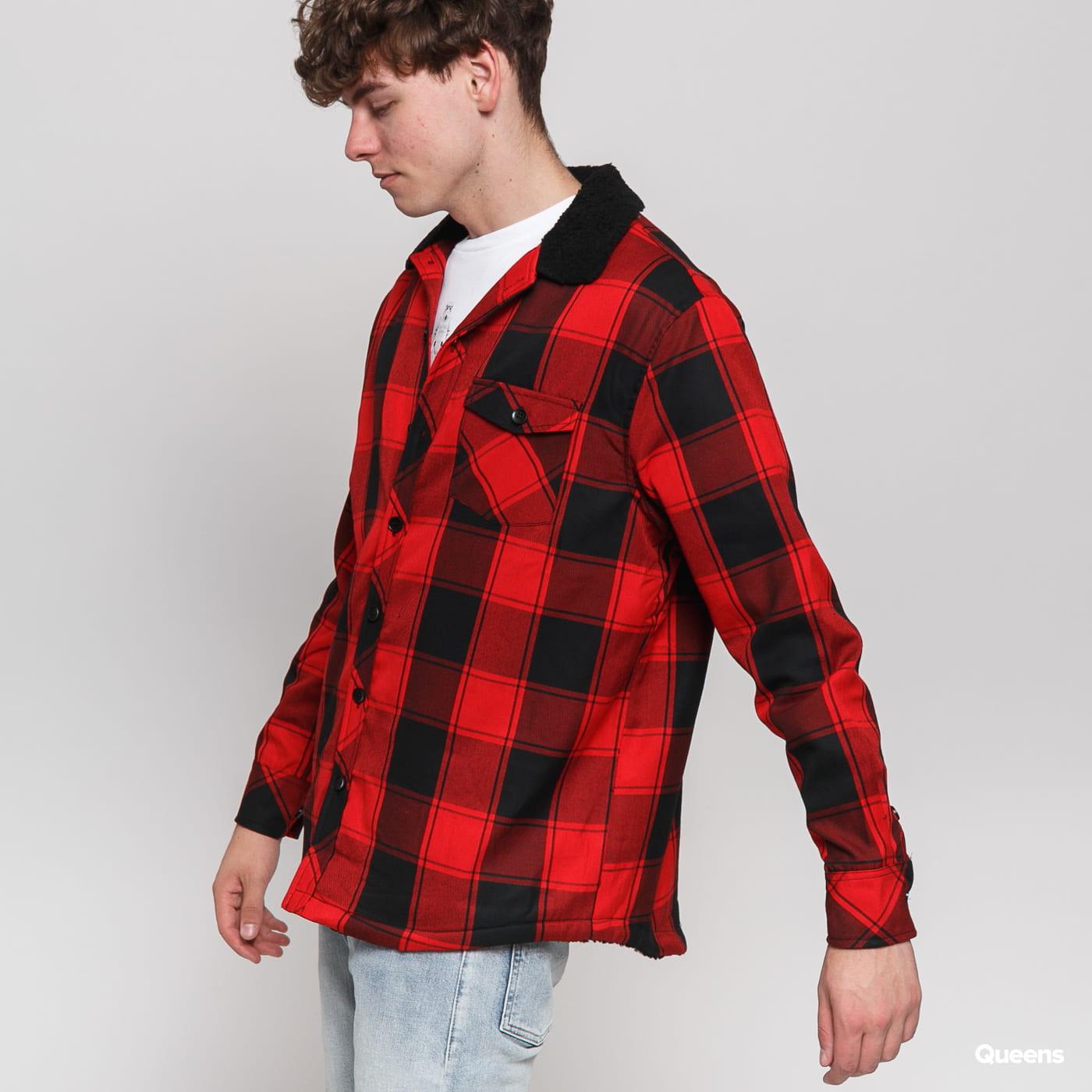 Urban Classics Sherpa Lined Shirt Jacket červená / čierna