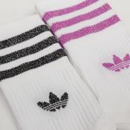 adidas Originals 2Pack Mid Cut Glitter Socks bílé / fialové / černé / stříbrné