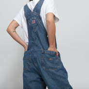 TOMMY JEANS W Regular Straight Dungaree tj flag mid bl rig