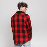 Urban Classics Sherpa Lined Shirt Jacket červená / černá