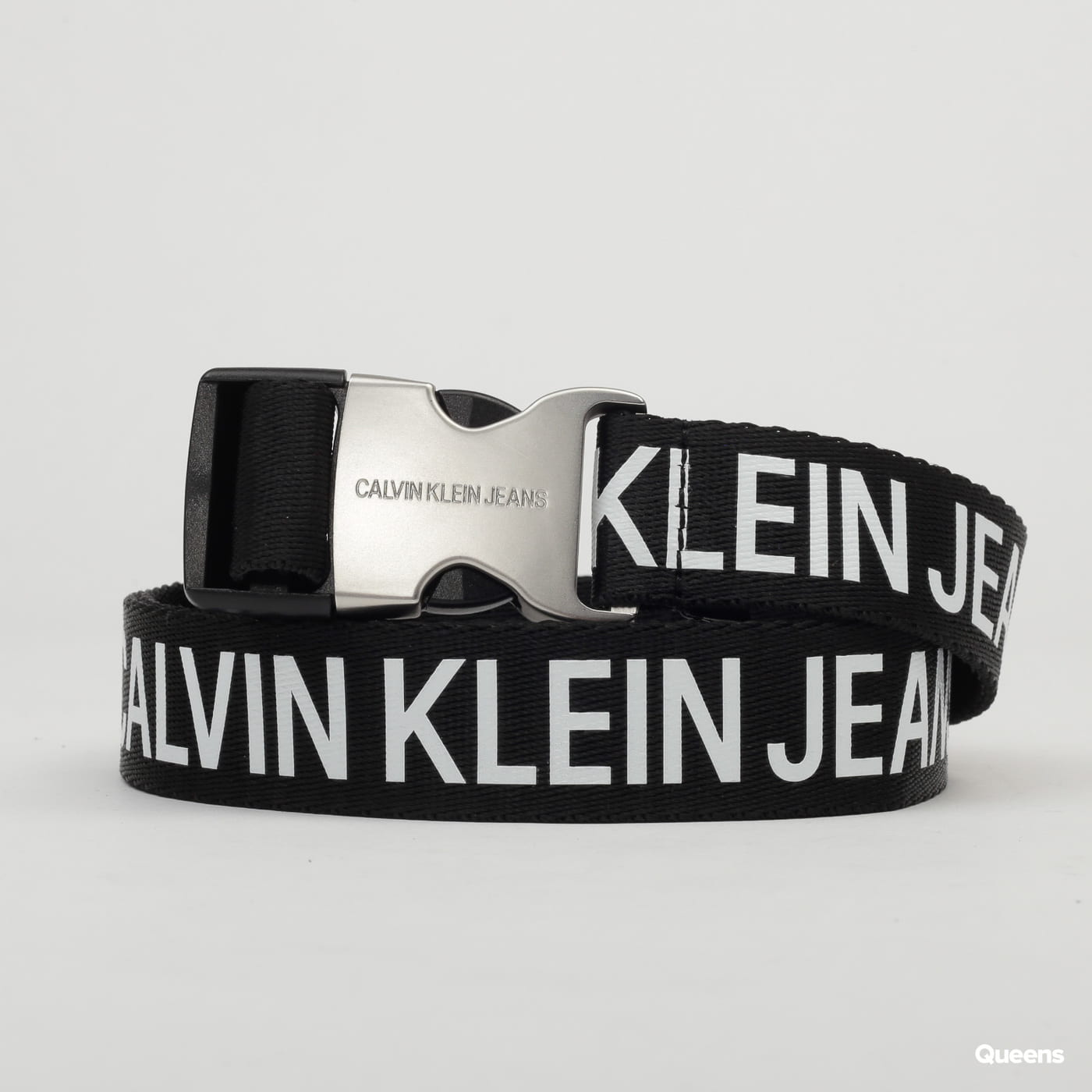 CALVIN KLEIN JEANS Logo Tape Clip Belt black / white