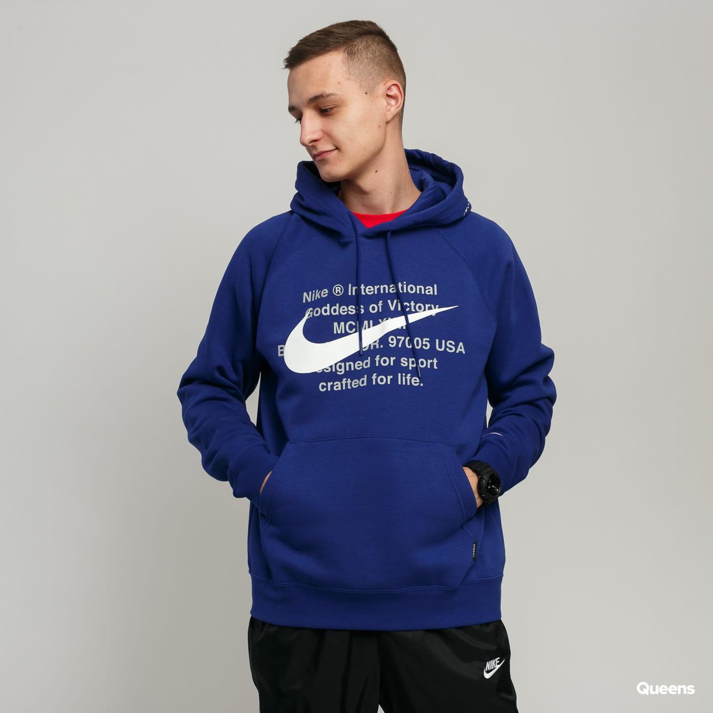 nike swoosh hoodie blue