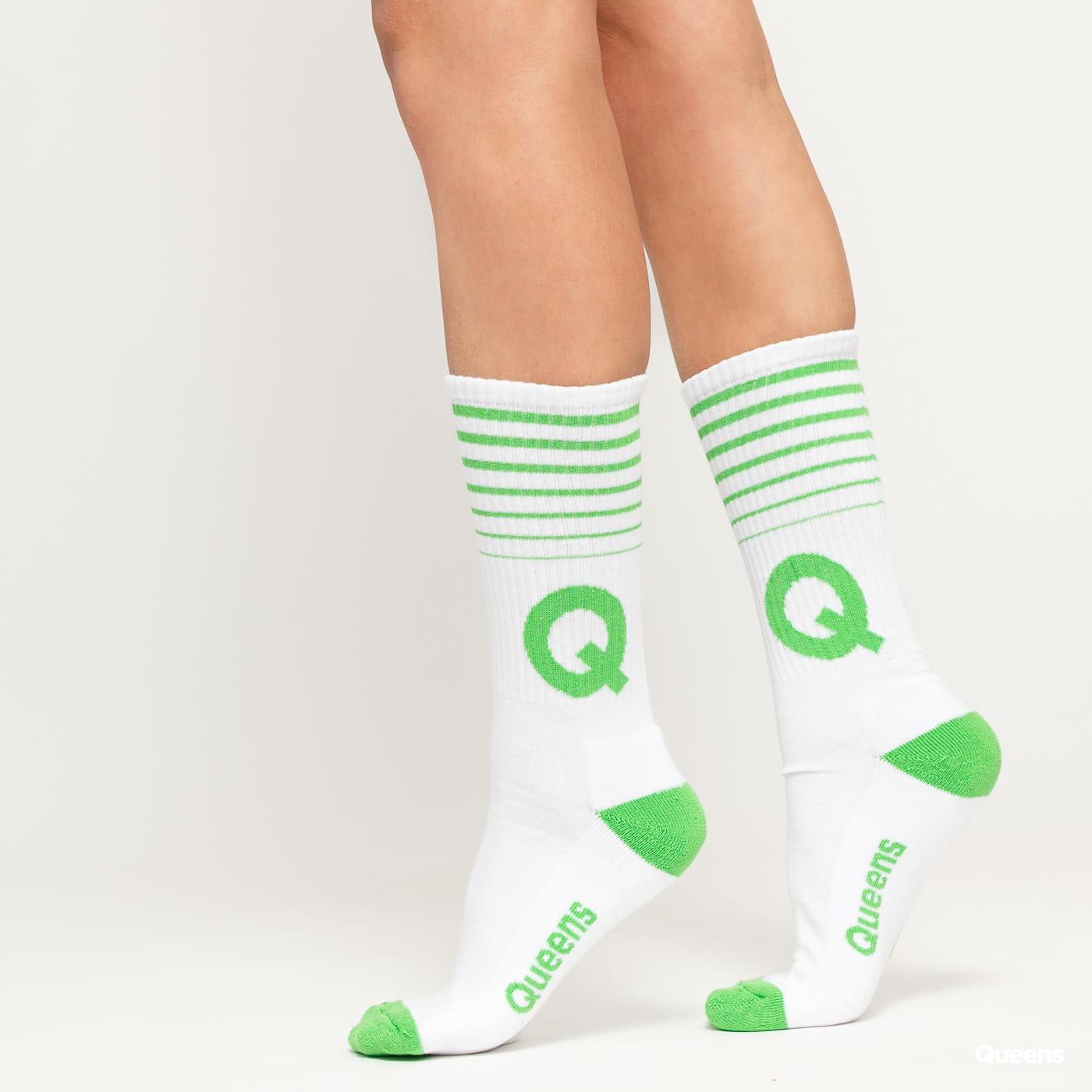 Queens Q Socks biele / zelené