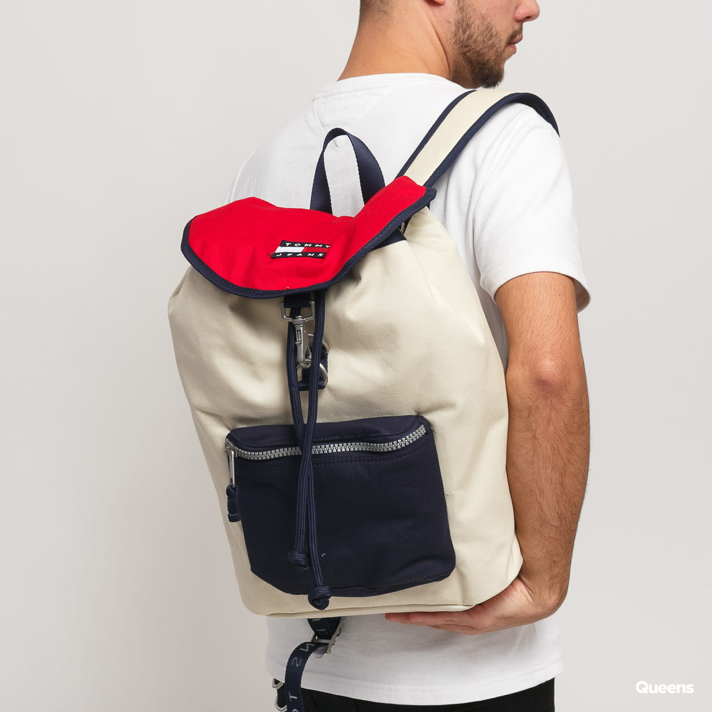 TOMMY JEANS Heritage Backpack krémový / navy / červený