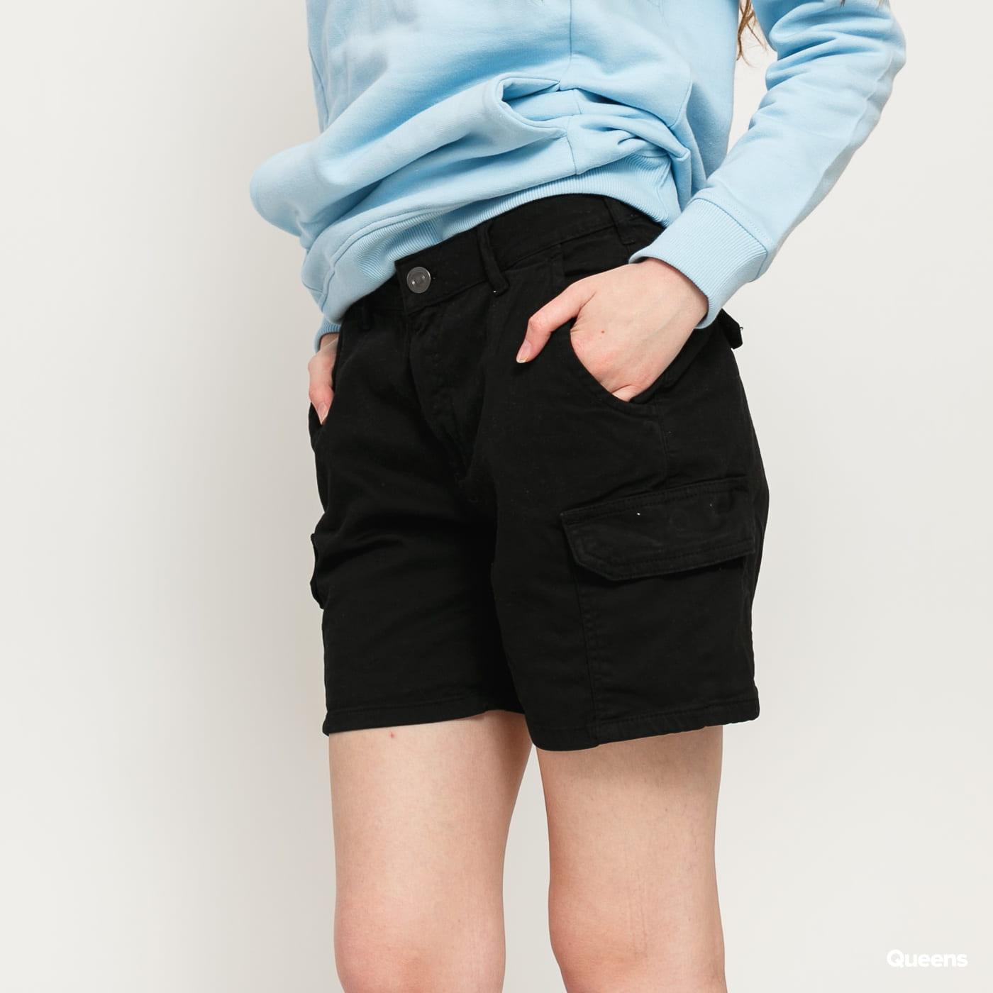 Urban Classics Ladies High Waist Cargo Shorts čierne