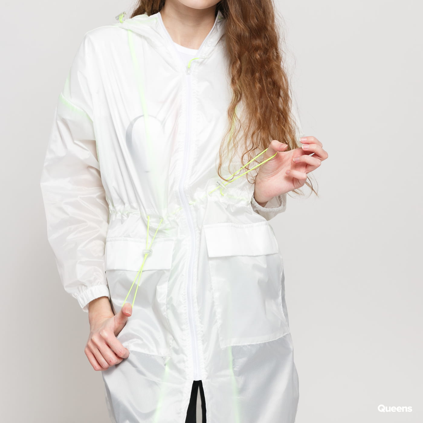 Urban Classics Ladies Transparent Light Parka weiß / neongrün