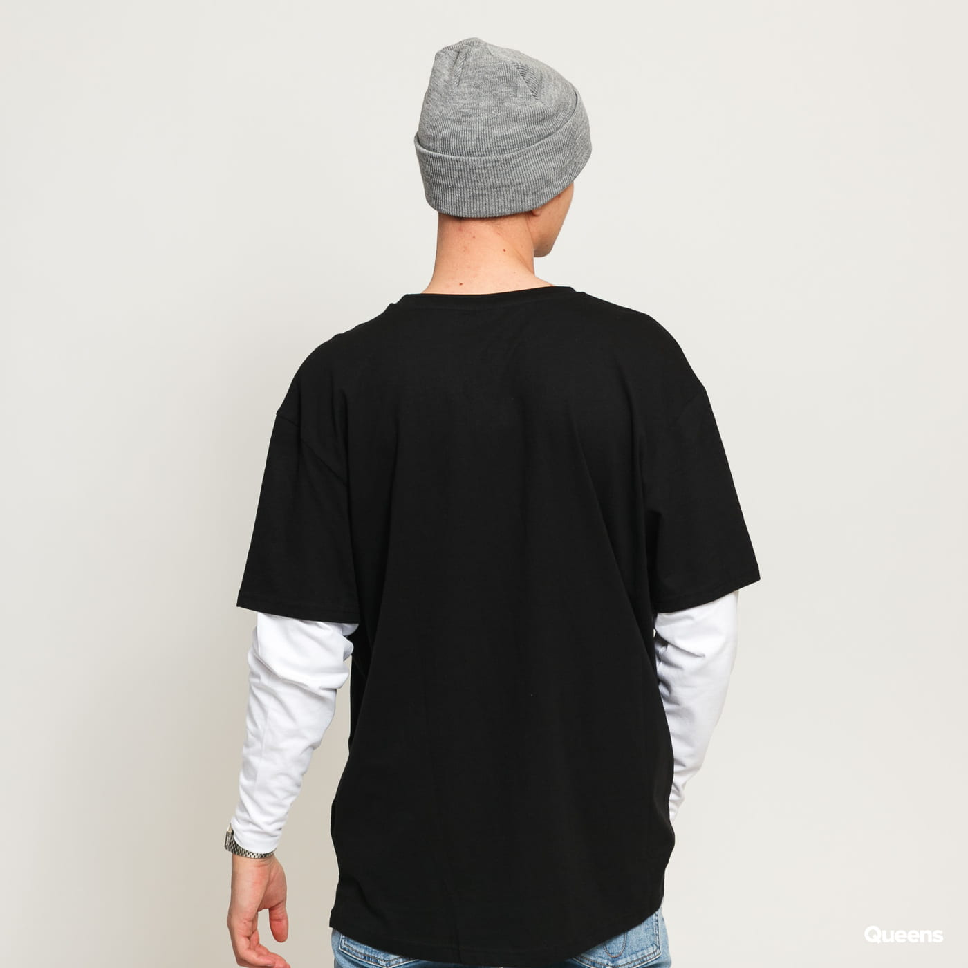 Urban Classics Oversized Shaped Double Layer LS Tee černé / bílé