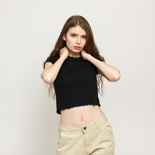 Urban Classics Ladies Cropped Rib Tee