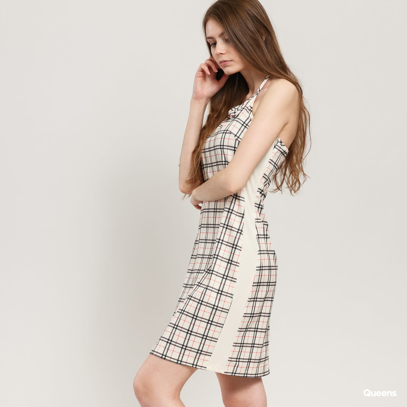 Fila Tess AOP Halter Neck Dress beige / schwarz / rot