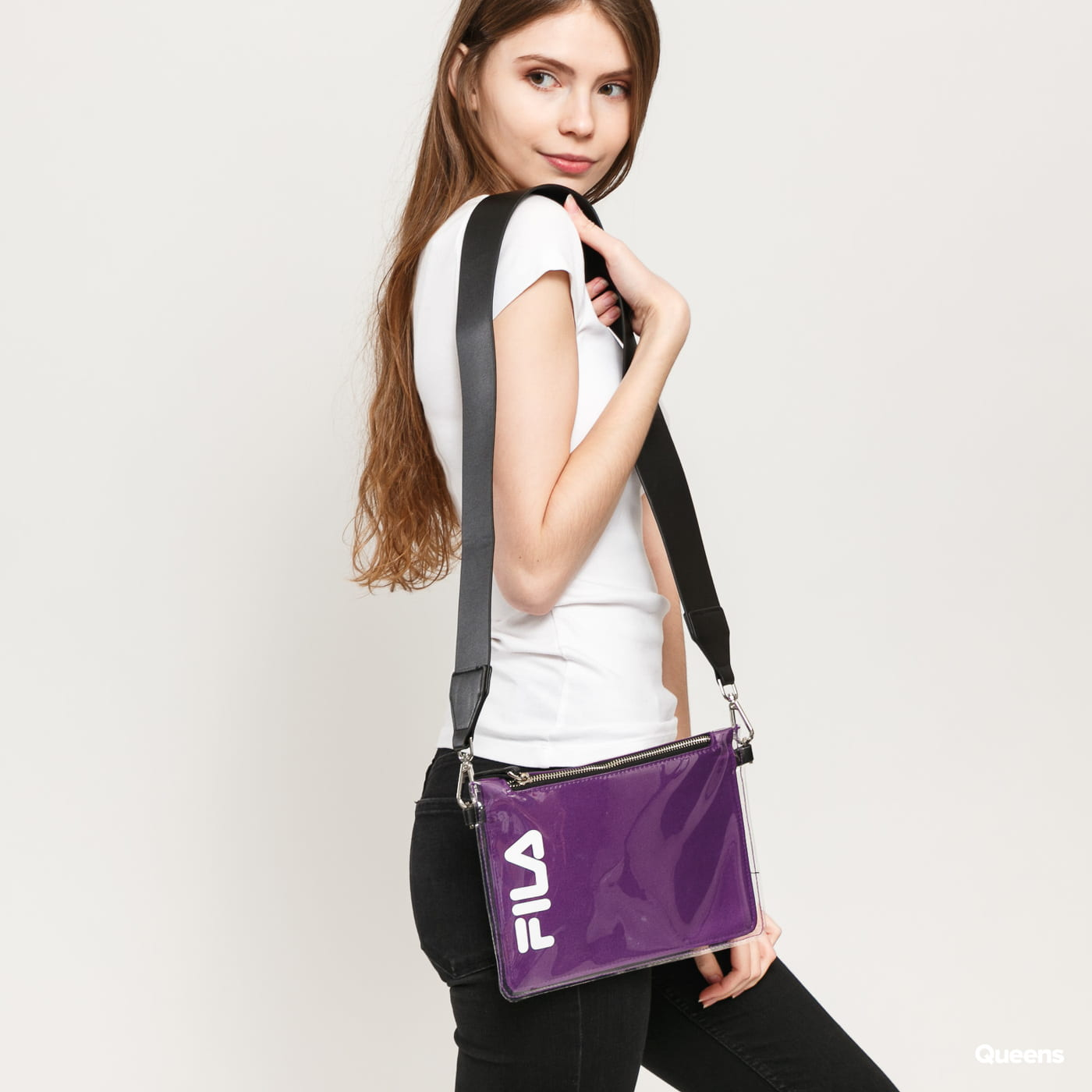 Fila Transparent Cross Body Bag lila / schwarz