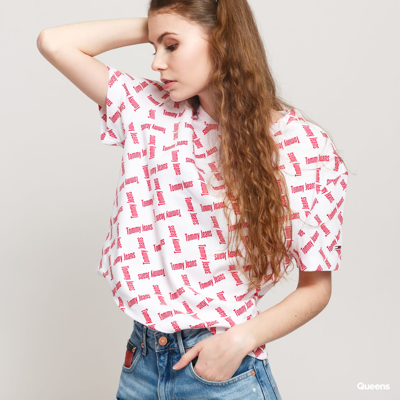 TOMMY JEANS W AOP Tee white / red