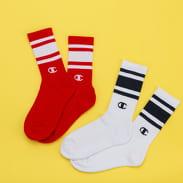 Champion Fashion 2Pack Sock bílé / navy / červené