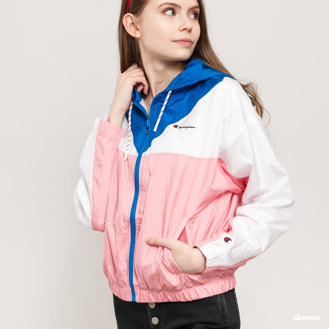 Champion Colour Block Hooded Track Jacket blau / weiß / pink