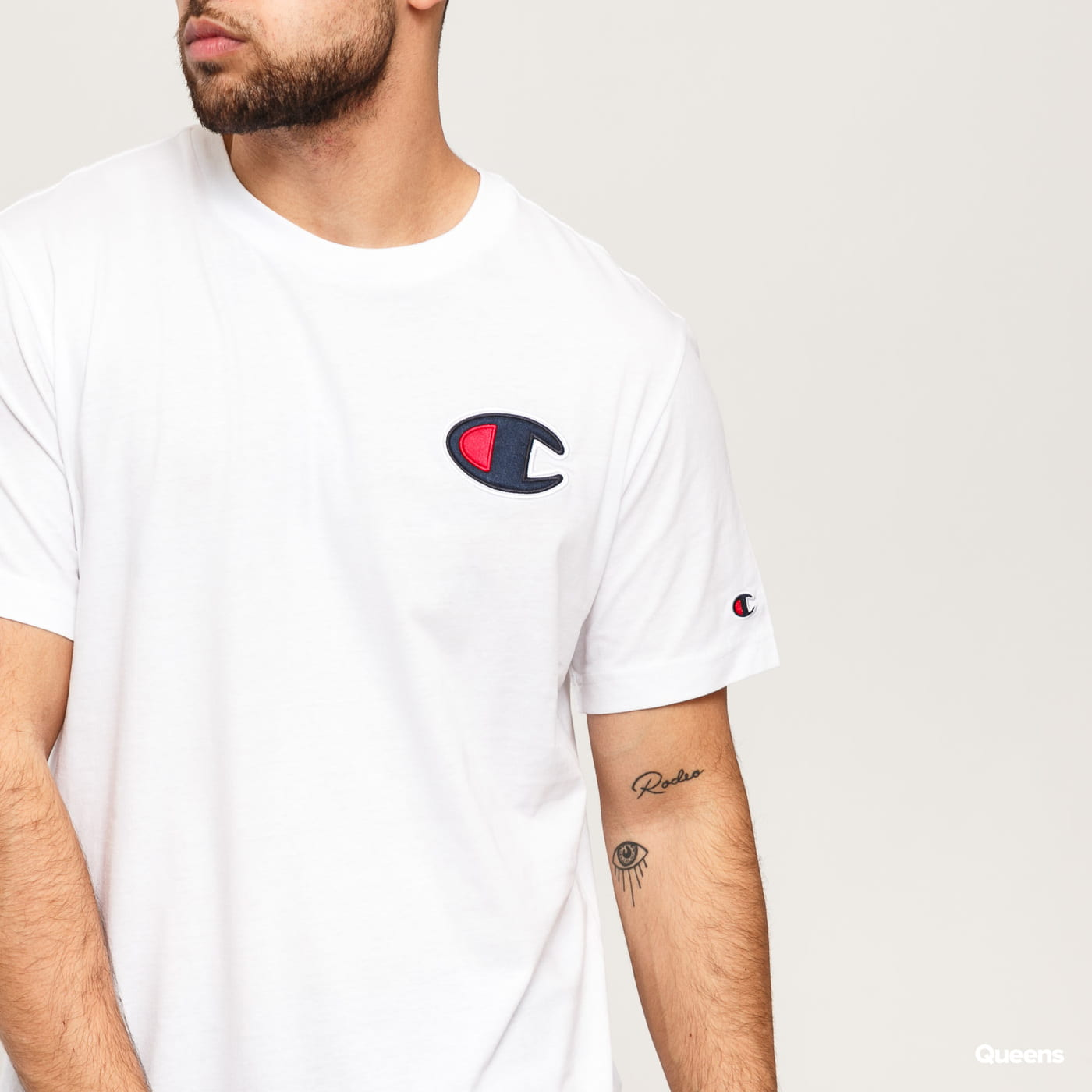 Champion Satin C Logo Crew Neck T-Shirt bílé