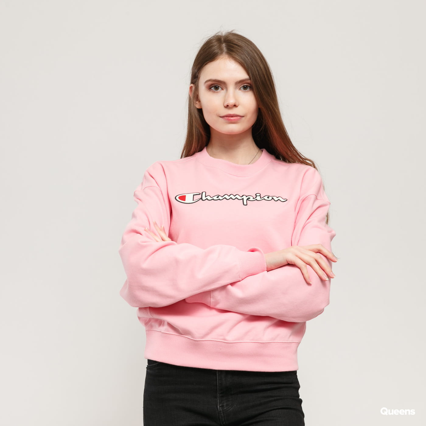 Champion Vintage Script Logo Cotton Terry Sweatshirt ružová