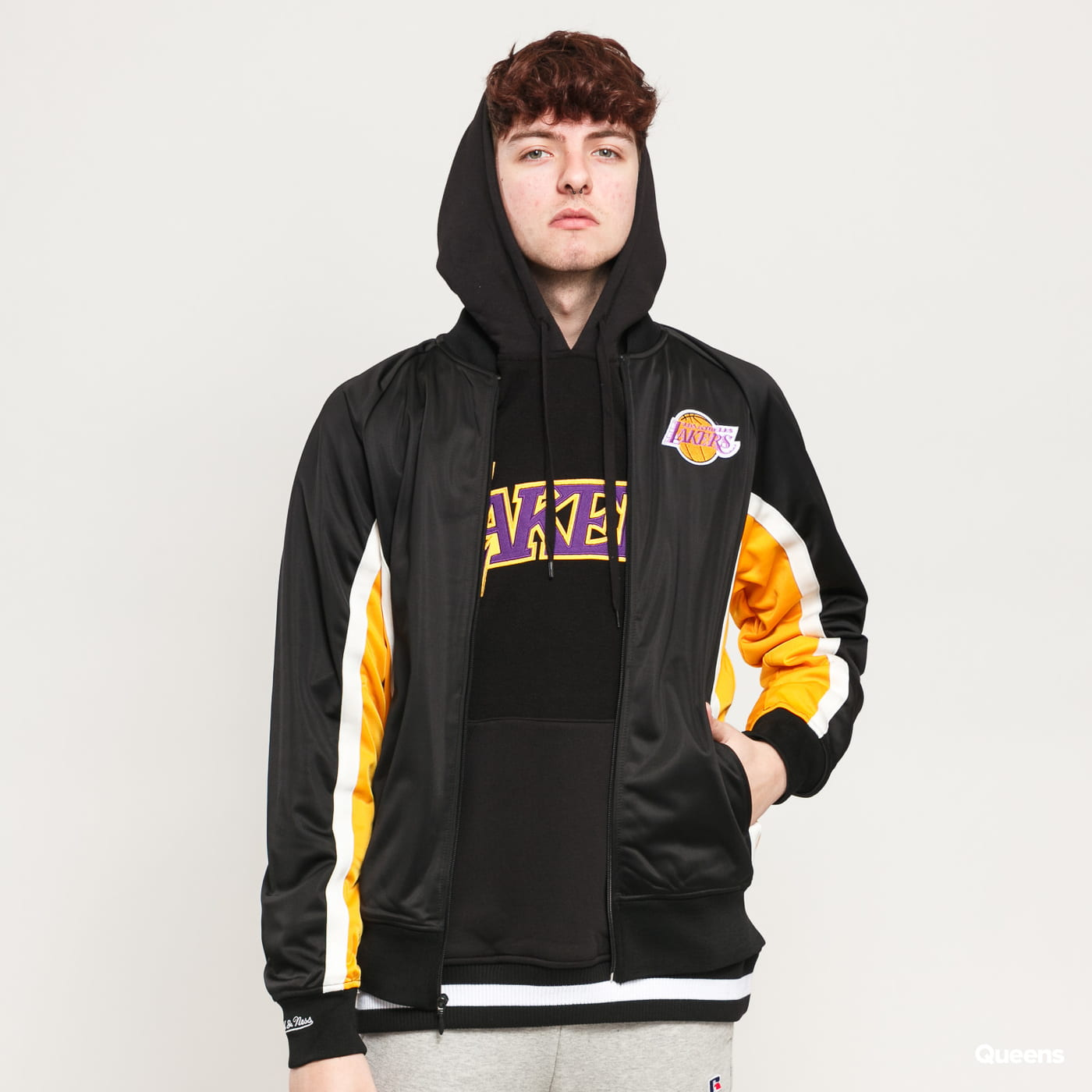 Sweatshirt Hoodie Mitchell Ness Championship Game Track Jacket La Lakers Black Yellow White Queens