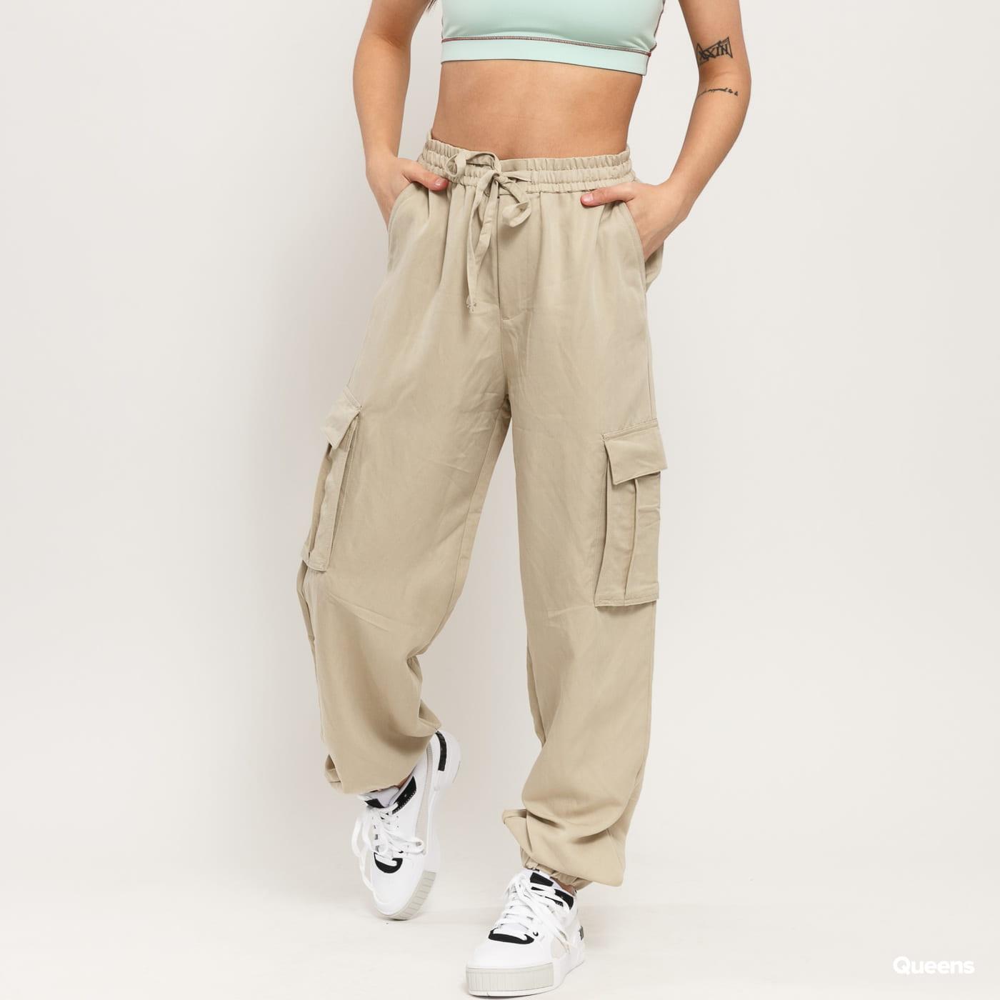 Urban Classics Ladies Viscose Twill Cargo Pants béžové
