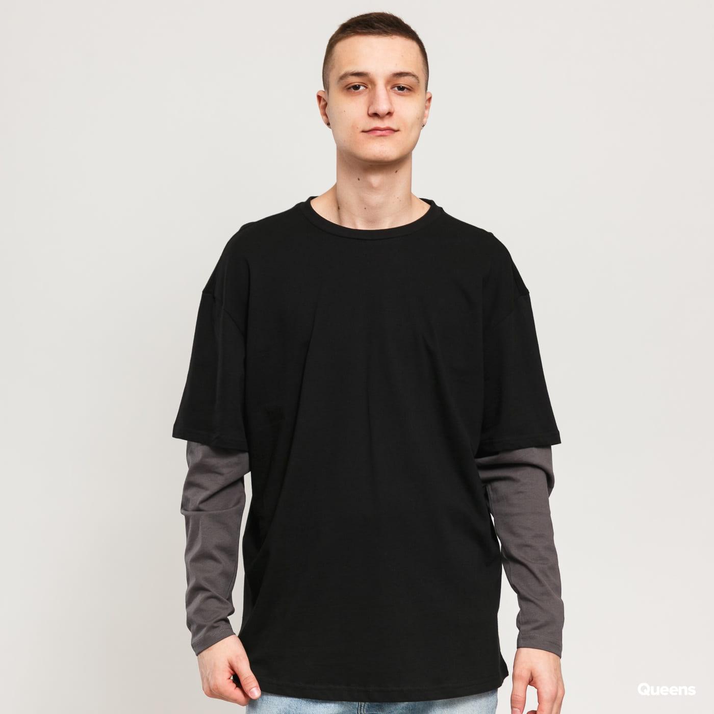 Urban Classics Oversized Shaped Double Layer LS Tee black / dark gray
