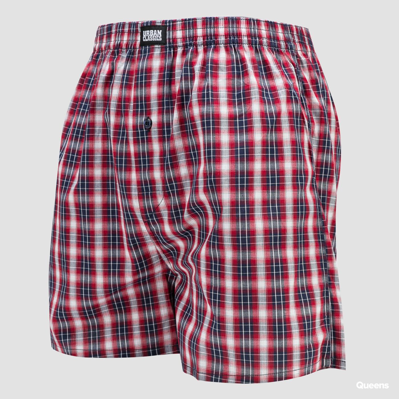 Urban Classics Woven Plaid Boxer Shorts 2-Pack navy / červené / biele