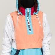 TOMMY JEANS W Colorblock Popover světle modrá / světle oranžová / bílá / růžová