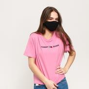 TOMMY JEANS W Modern Linear Logo Tee světle růžové