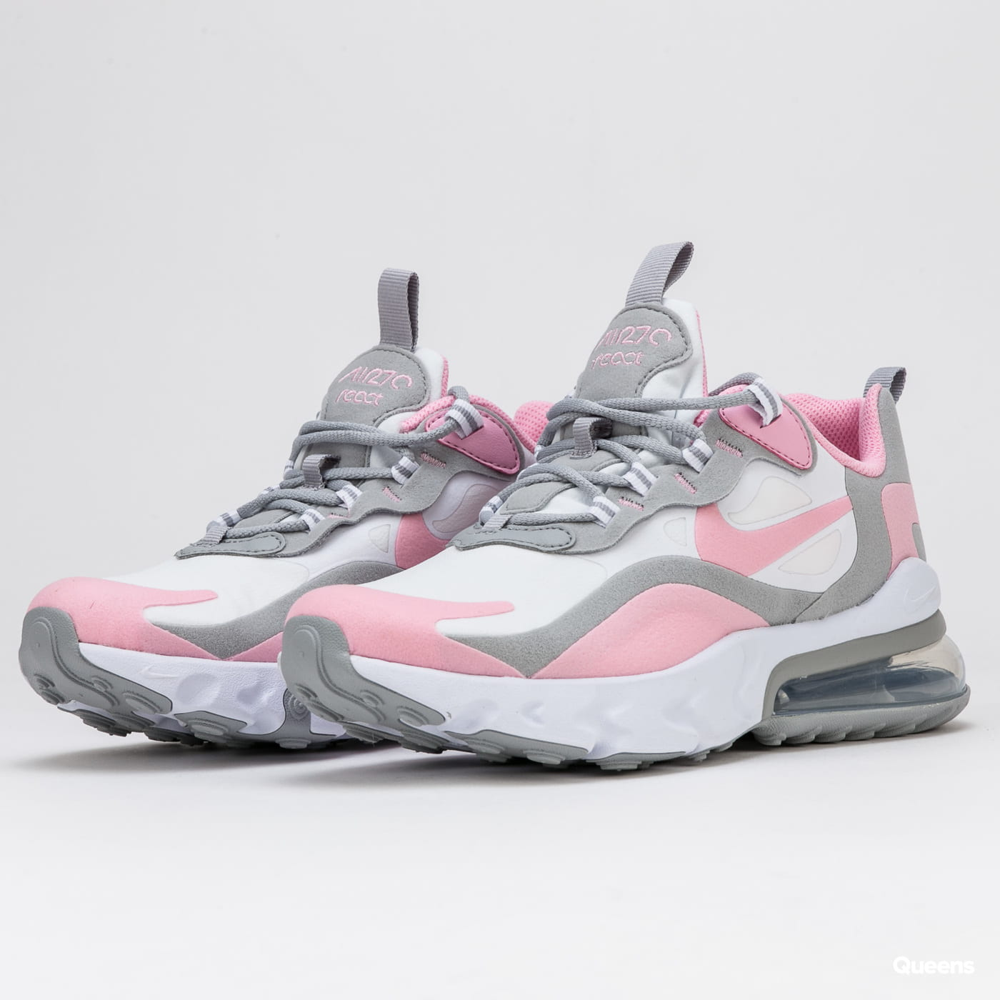 Nike Air Max 270 React Gs White Pink Lt Smoke Grey Bq0103