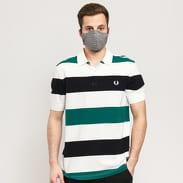 FRED PERRY Texture Stripe Polo Shirt bílé / tmavě zelené / černé