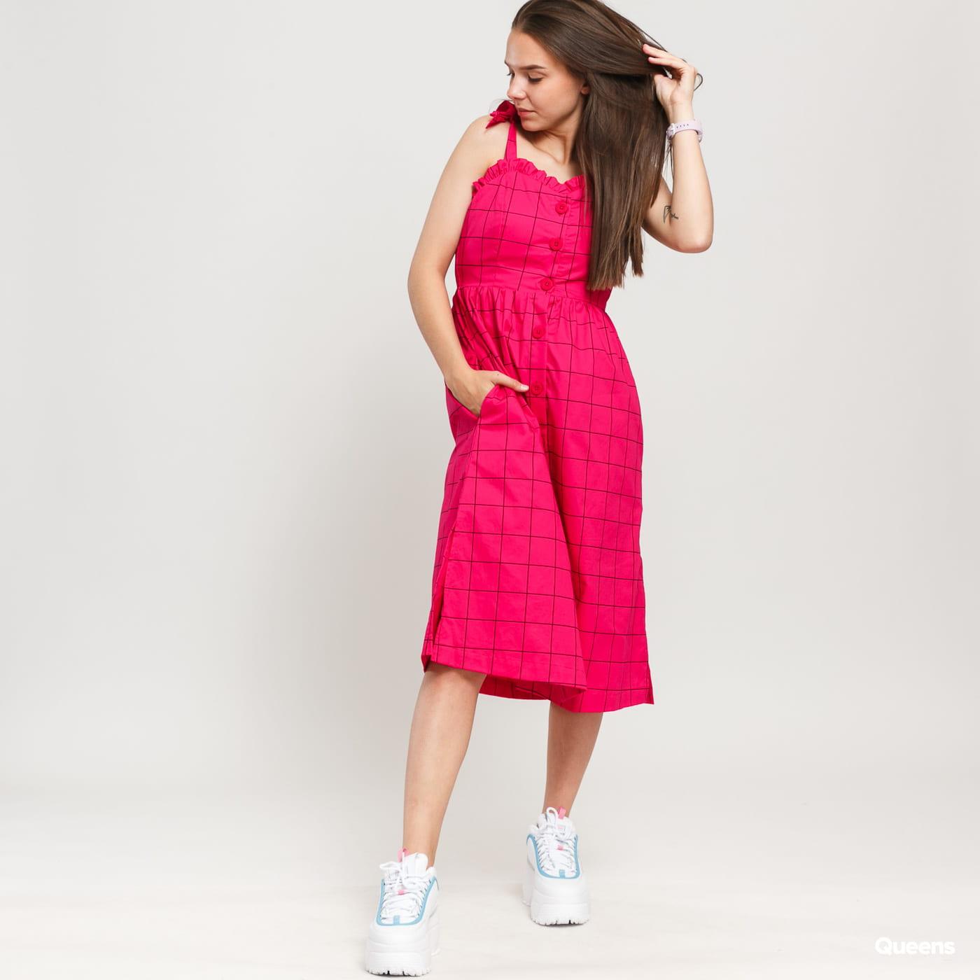 LAZY OAF Caged In Button Dress růžové / černé