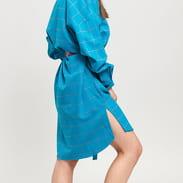 LAZY OAF Off The Grid Shirt Dress tyrkysové